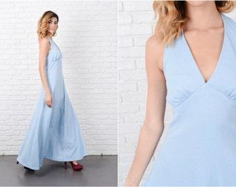 Blue Hippie Boho Dress Vintage 70s Metallic Halter Backless A Line Small S 8221