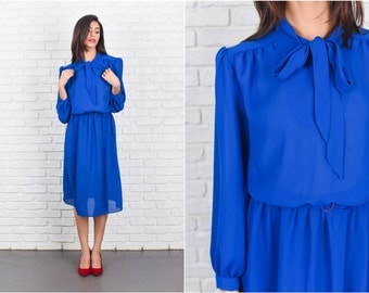 Vintage 80s Blue Retro Dress Secretary Ascot Bow Slouchy Blouson S M 7246