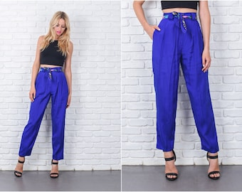 Vintage 80s Blue Pants Trousers Retro Baggy pleated High Waist XS 7525