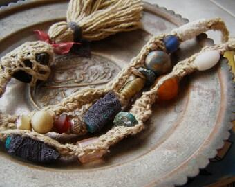 Boho Tassel Necklace Ethnic, Crochet Beaded Necklace Fiber Art, Statement Necklace Trinket Necklace, Tribal Jewelry Mix Beads Necklace Woven