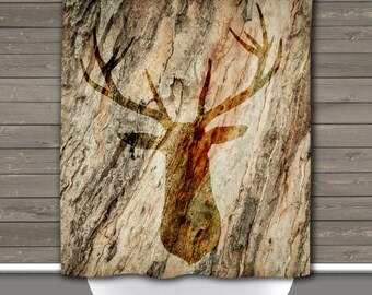 Deer Head Shower Curtain: Rustic Lodge Outdoors Cabin Wilderness   Made in the USA   12 Hole Fabric Bathroom Decor
