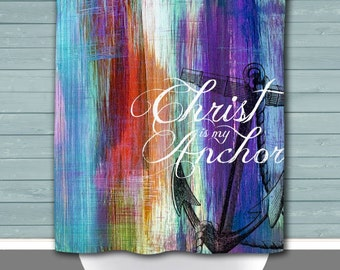 Christ is my Anchor Shower Curtain   Colorful Nautical Beach House Decor   12 Eyelet/Button Hole   Size and Pricing via Dropdown