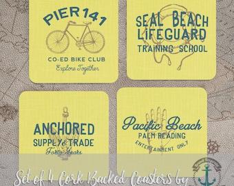 Coaster Set   Vintage Nautical   Seal Beach, Pacific Beach Vintage Decor   Set of 4 Cork Back   Options at Checkout