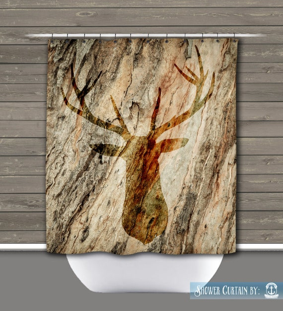 Deer Head Shower Curtain Rustic Lodge Outdoors Cabin