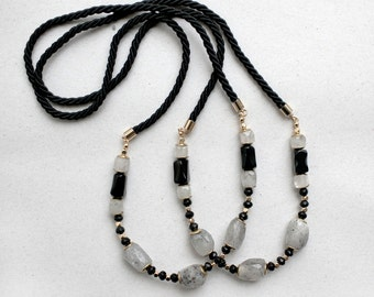 ONE Minimalist Black and White Rutilated Quartz, agate necklace with black rope cord, Black and White Necklace Pendant