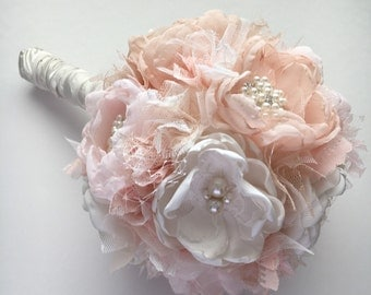 Fabric Bridal Bouquet - Large Size - Fabric Flowers - Pale Champagne, Pale Pink, Blush, and Cream - Fabric Wedding Flowers, Heirloom Bouquet