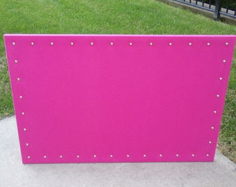 "Hot Pink Fuchsia Bulletin Pin Board, CorkBoard, PinBoard 23""x35"" size in Super Soft Durable Cotton Fabric, Shiny Chrome Nail Head Trim"