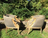 Gold carved pair swan tub barrel chairs