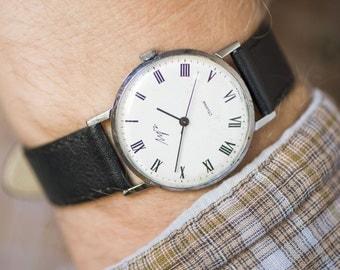 Sleek men's wristwatch, gent's watch Ray minimalist, black white men watch, classical wristwatch gift him, premium leather strap new
