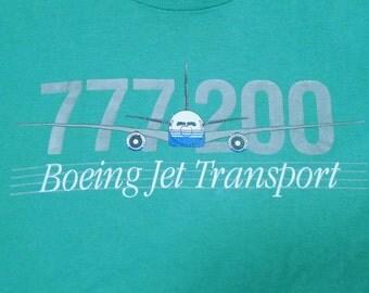Vintage 80s 777-200 Boeing Jet Transport Green T-Shirt