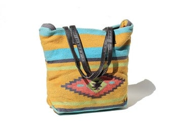 Multiple Color Kilim Woven Shopper Tote Bag