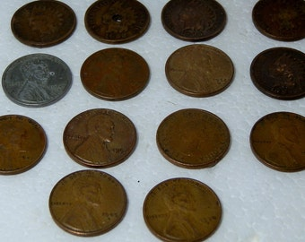 Vintage and Antique Coin Lot 13 US 1 cent Pennies and One Canadian Penny All Circulated 14 Total Coins 1889 to 1967 DanPickedMinerals