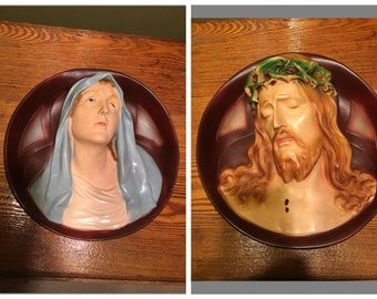 Vintage Mary and Jesus Chalkware Wall Hangings