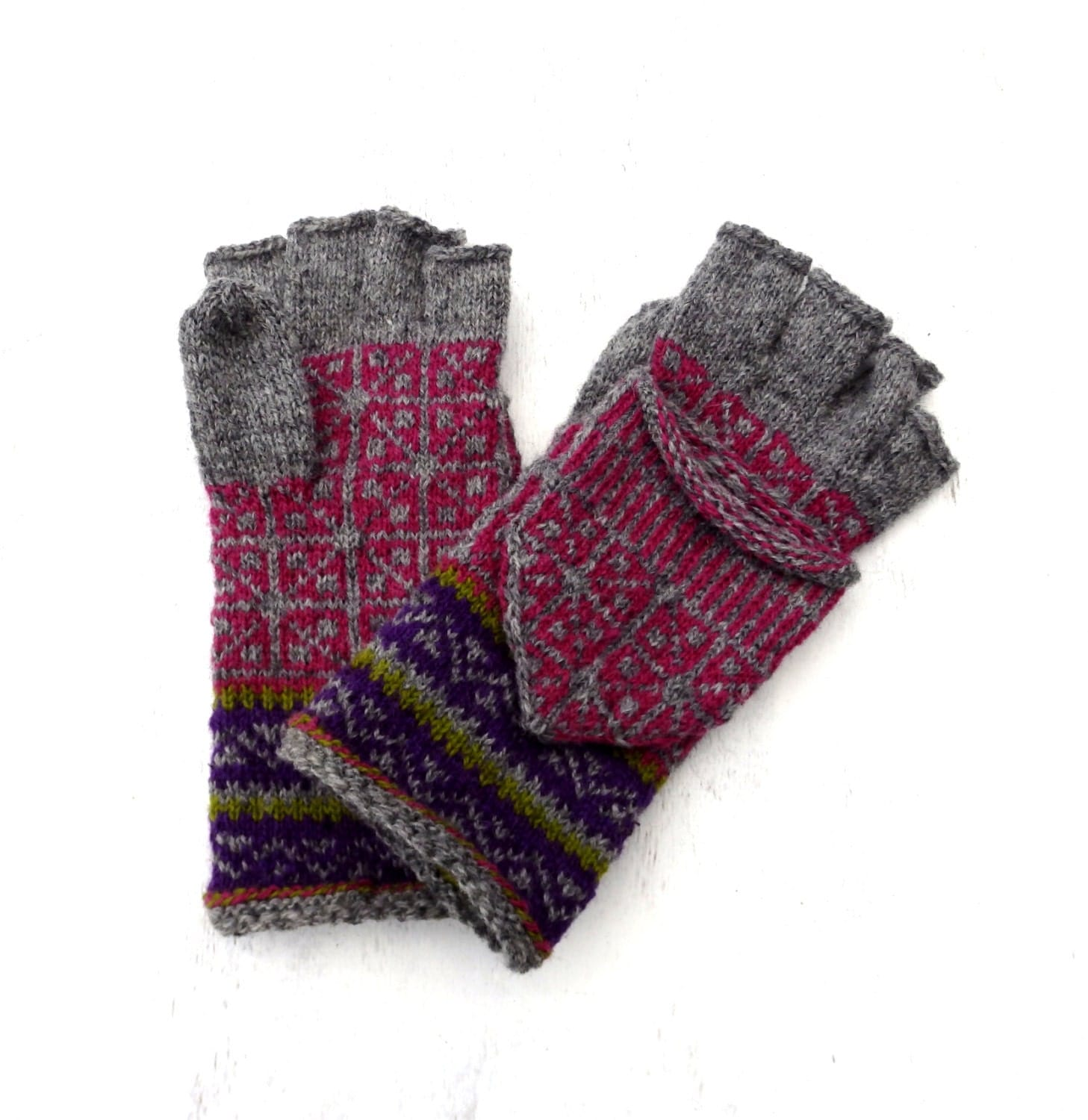 Convertible Mitten Knitting Pattern : Hand knitted wool convertible gloves knit hooded adult