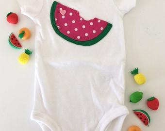 Watermelon baby onesie/bodysuit, toddler t-shirt, hand sewn applique