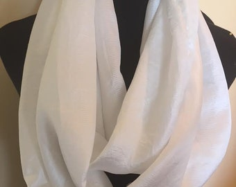 New Silky White Infinity Scarf