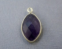 12% off Wholesale Amethyst Bezel Marquise Pendant- 18mm x 11mm Gold over Sterling Silver Bezel Charm Pendant (S21B4-09)