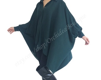 Women oversized shirt blouse top tunic women plus size maternity green loose long batwing sleeves asymmetric hem ELISABETHA