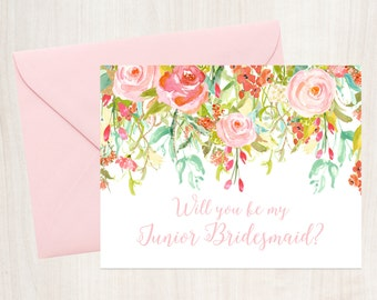 Will You Be My Junior Bridesmaid Card - A2 Note Card - Instant Download - Tented Card - Rosewater Drop - JPG and PDF Files