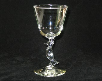 Old Crow Stem Libbey Wine or Cocktail Glass w/ Figural Bird in Tophat