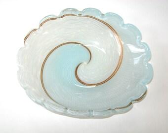"""Dino Martens Mezza Filigrana Magnificent 13"""" Murano Glass Bowl Aureliano Toso - Latticino w/ Aventurine Swirl Yin & Yang"""