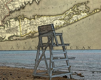 Lifeguard Stand with Long Island Map behind 8x10