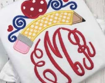 Back to School Monogram Pencil Shirt - Girl's Applique shirt - Monogram girl's pencil design