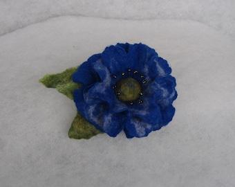 Flowers Brooch -  Felted Flower- Hand felted brooch - Wool brooch- Blue flower brooch