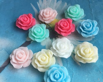 50pc 20mm mixed colors Shiny resin rose flower cabochon/cameo charms