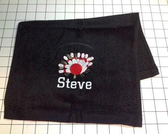 custom personalized embroidered bowling towel.