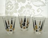 Vintage Mid Century Atomic Age Mad Men Era Set of Three Cordial Shot Glasses Black Gold 4 oz.
