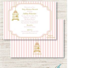Pink Bird Cage BABY SHOWER INVITATION Printed or Digital/Printable File