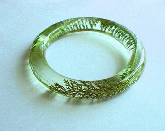 Hand Made Green Silver Tail Leaves   Resin Bangle,Real flowers and leaf,Gift idea