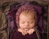Newborn bonnet - 'CONFETTI' - Powder bonnet - rounded bonnet - knit baby bonnet - knitbysarah - Stitches by Sarah
