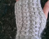Handcrafted wool knitted Fingerless Gloves - gray