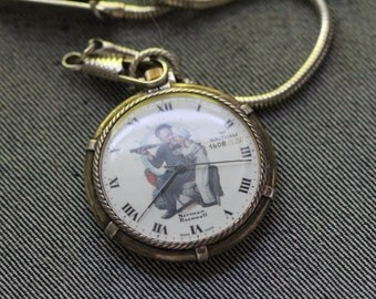 Vintage Waltham Quartz Pocket Watch Norman Rockwell dial with rope like chain