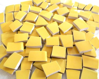 GOLDENROD Yellow - Solid Color Stoneware Mosaic Tiles - Recycled Plates - 50 Tiles