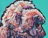 """labradoodle golden doodle dog portrait art print of pop art painting bright colors 12x12"""" LEA"""