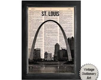 St. Louis Missouri - paisaje urbano impreso en reciclado Vintage Diccionario papel - 8x10.5 lámina Diccionario