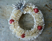 6 Cream Vintage Style Handmade Bottle Brush Wreaths with Berries