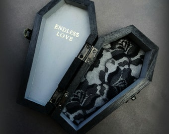 Ring Bearer Pillow Box Coffin black and gray Halloween wedding ENDLESS LOVE