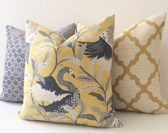 Yellow and gray swan floral decorative pillow cover, dwell studio golden bird pillow cover