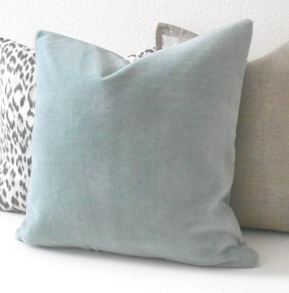 Light blue velvet decorative pillow cover accent pillow for Light blue throw pillows