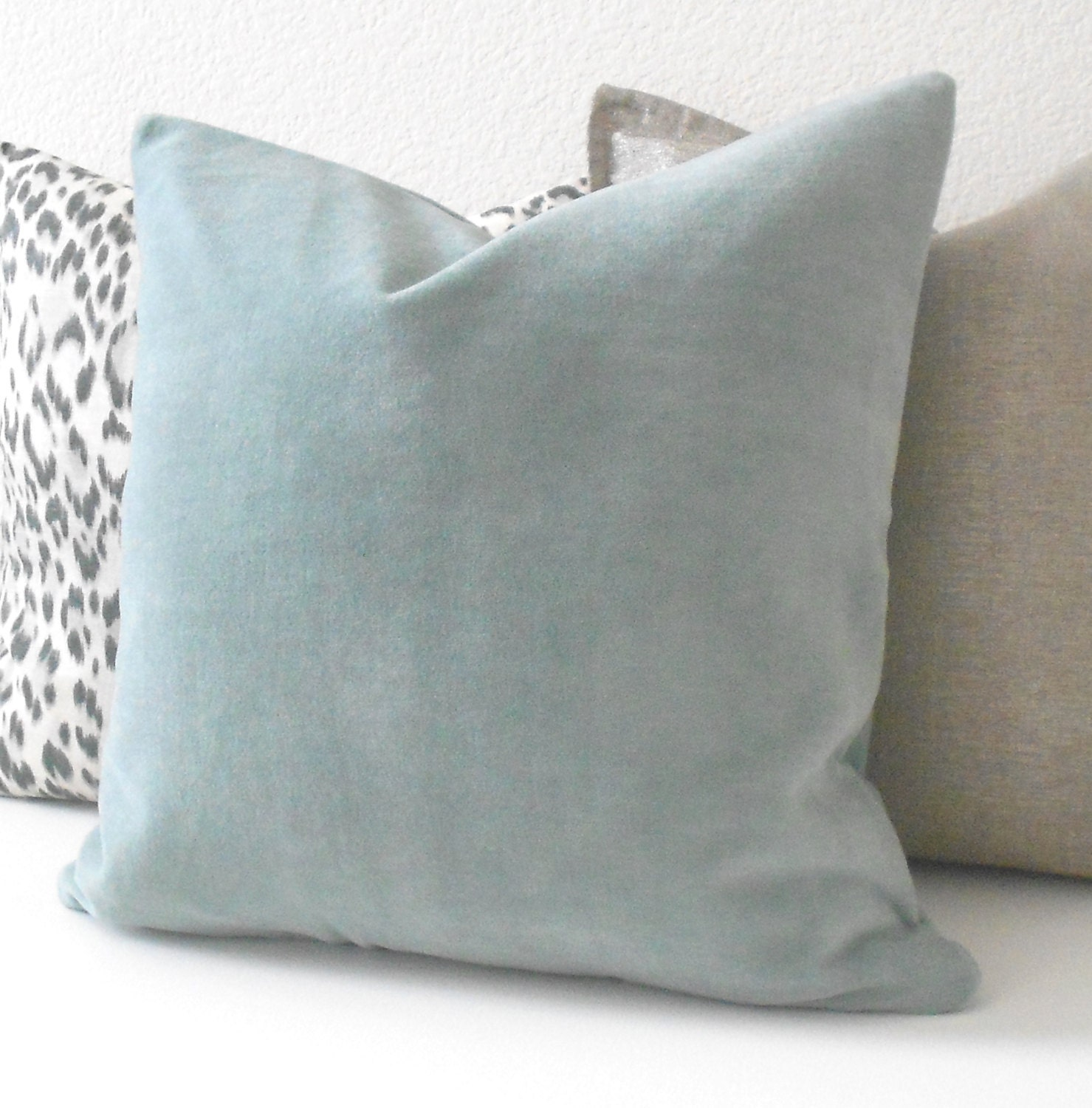 light blue velvet decorative pillow cover accent pillow