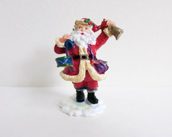 Vintage Miniature Metal Santa with Drum snd Bell - Colorful Miniature Christmas Decoration - Wreath Accessory