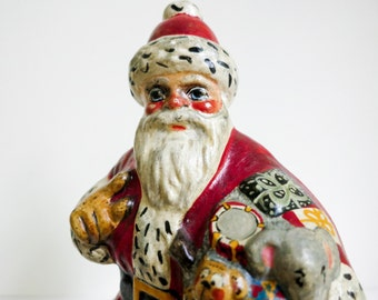 Vaillancourt Folk Art Santa - 1988 Grolier Edition - Christmas Figurine - Chalkware Santa with Drum and Elephant - Christmas Decoration
