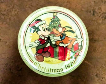 Vintage Mickey Mouse Christmas Glass Paperweight - with Pluto Dog Cartoon Character - Home or Office Desk Decor - Christmas Decoration