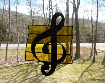 Stained Glass Suncatcher - Musical Clef Note