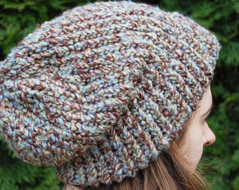 A Multi Color Knit Slouchy Hat