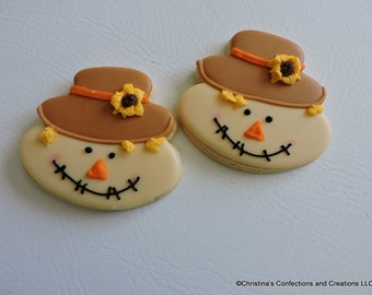 Scarecrown  Fall Halloween Thanksgiving Decorated cookie  (#2570)